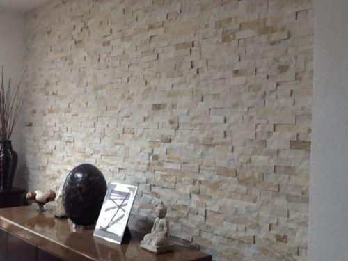 Cream Quartz Split Face Mosaic Ledge Stone Feature Wall Tiles